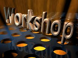 the word workshop with brown background